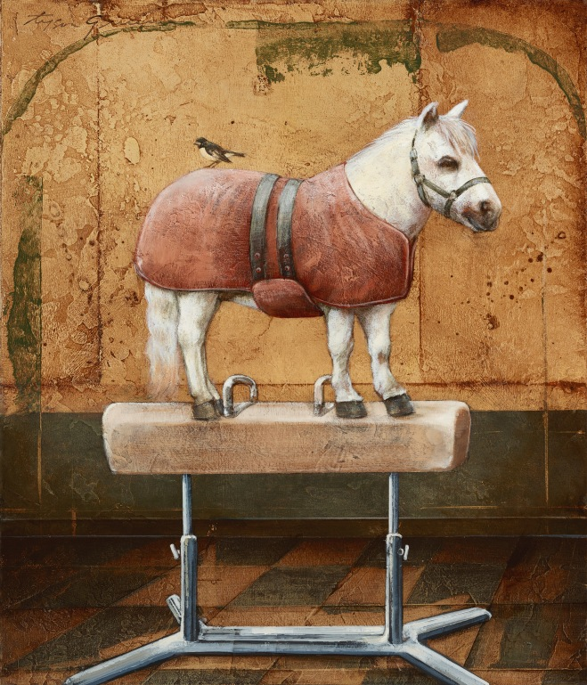 Mini-Horse on Top of a Pommel Horse