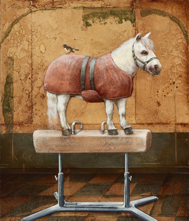 Mini-Horse on Top of a PommelHorse